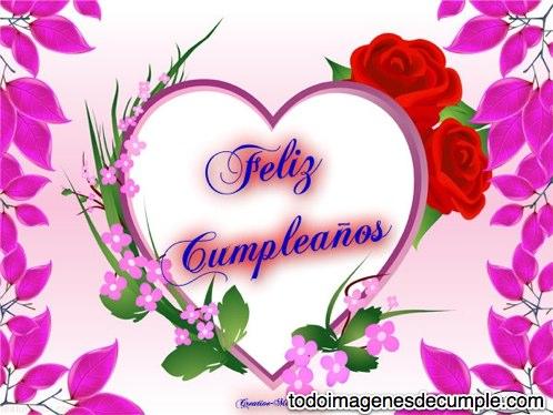 imagenes de feliz cumpleaños con flores y corazones