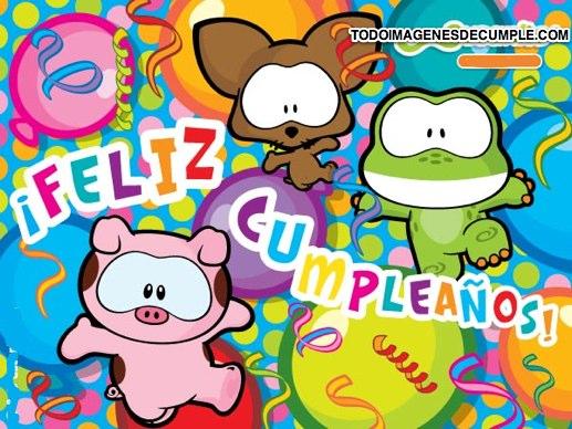 imagenes de feliz cumpleaños de colores con animalitos