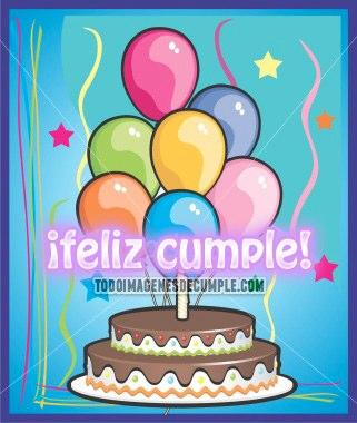 imagenes de cumpleaños con torta y globos