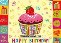 Imágenes de cumpleaños con cupcake y decoraciones